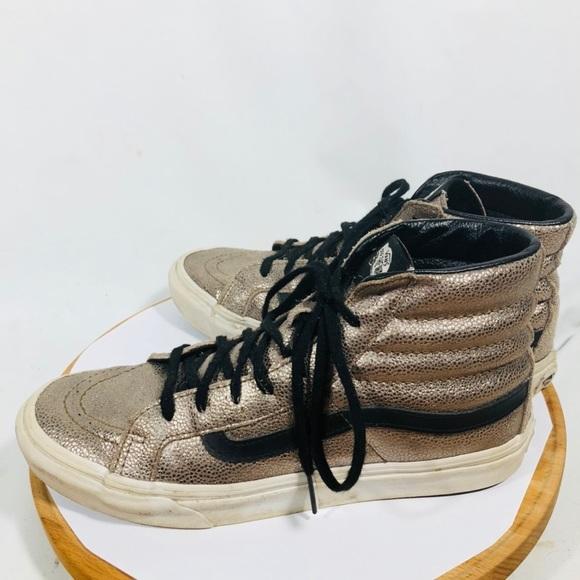 590d75465994dc VANS Hi Slim Metallic Bronze Leather Skate Shoes. M 5b97f698951996f8a0416e8f